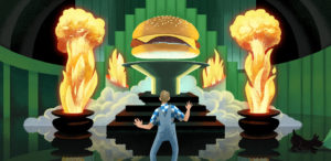 Cartoon image depicting the best burgers in America - Father's Office burger ranked #27